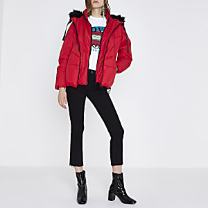 Red faux fur trim oversized puffer jacket