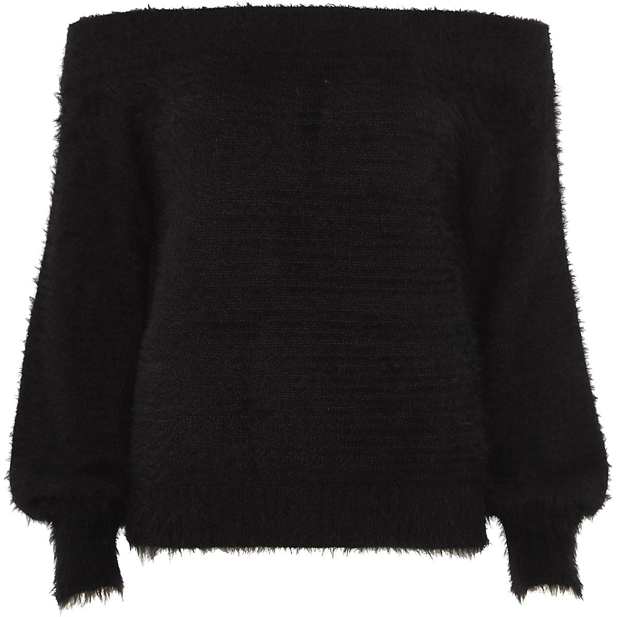 Black bardot fluffy knit jumper