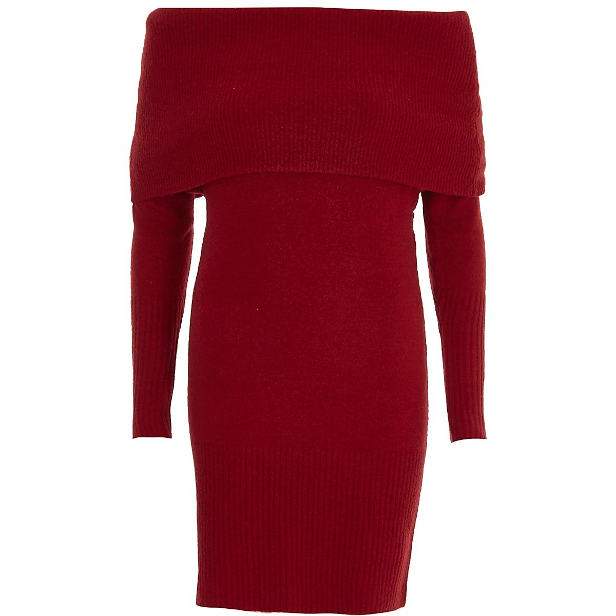 Red foldover bardot jumper dress