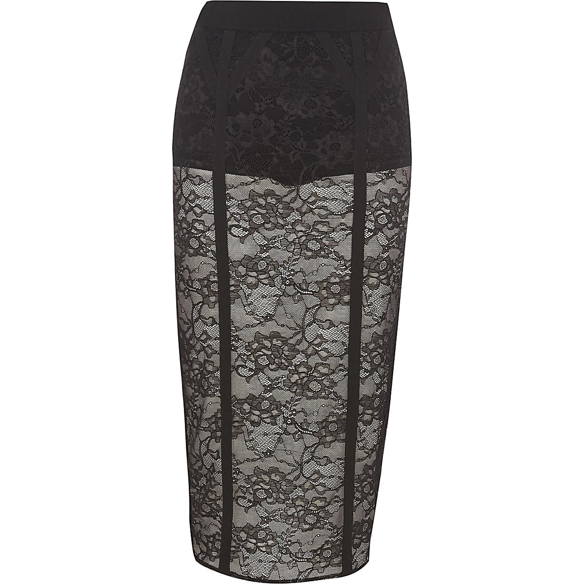 Black lace panel pencil skirt