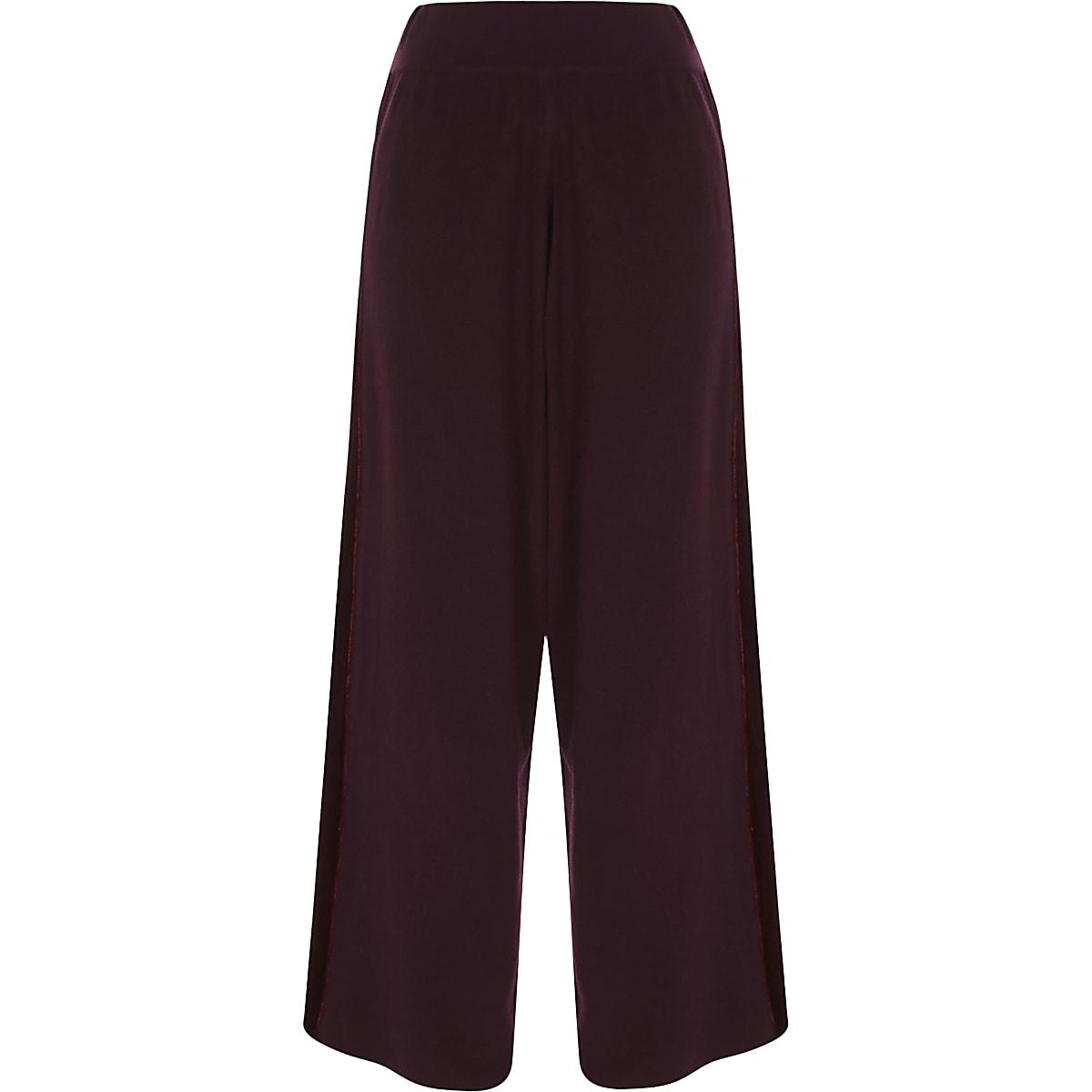 Burgundy wide leg velvet panel knit pants