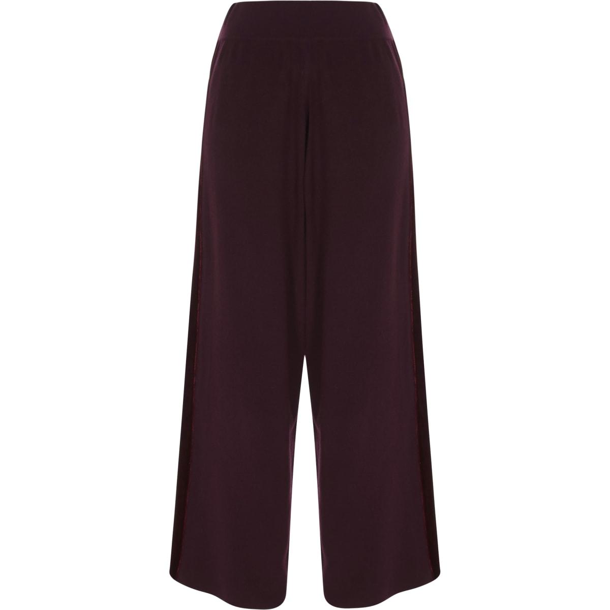 Burgundy wide leg velvet panel knit trousers