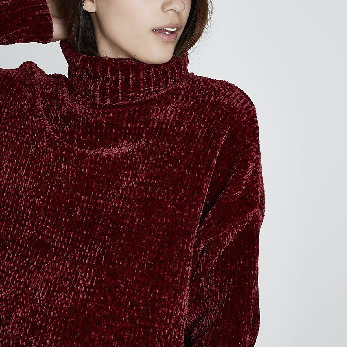 best shoes super cute new collection Red chenille knit oversized roll neck jumper