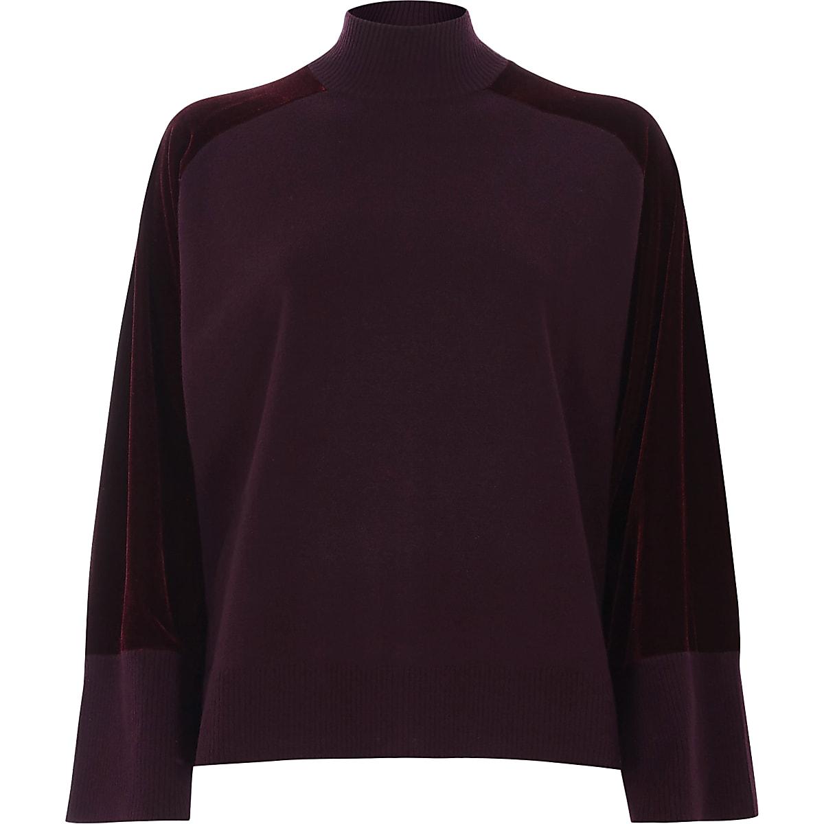 Burgundy velvet sleeve high neck knit jumper
