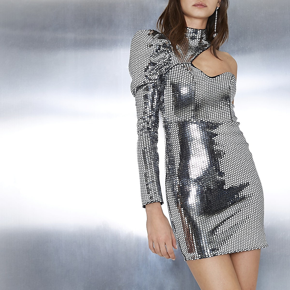 Silver mirror sequin one sleeve cut out dress