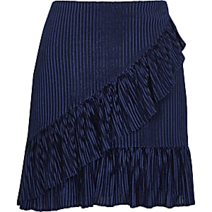 Blue cord frill front mini skirt
