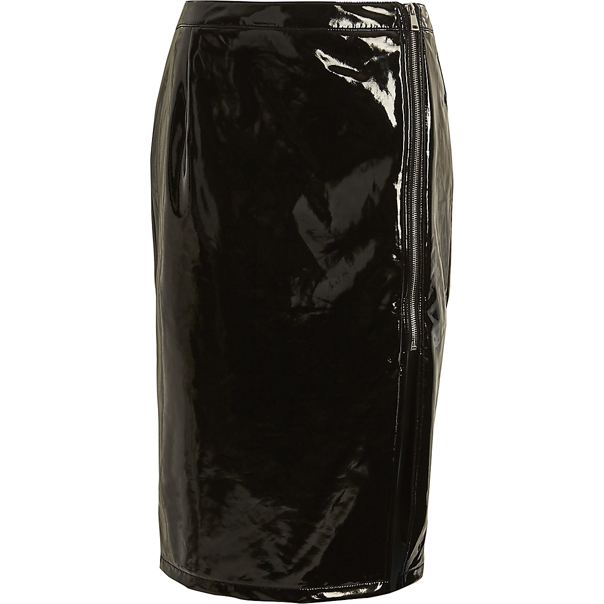 Black vinyl front split pencil skirt