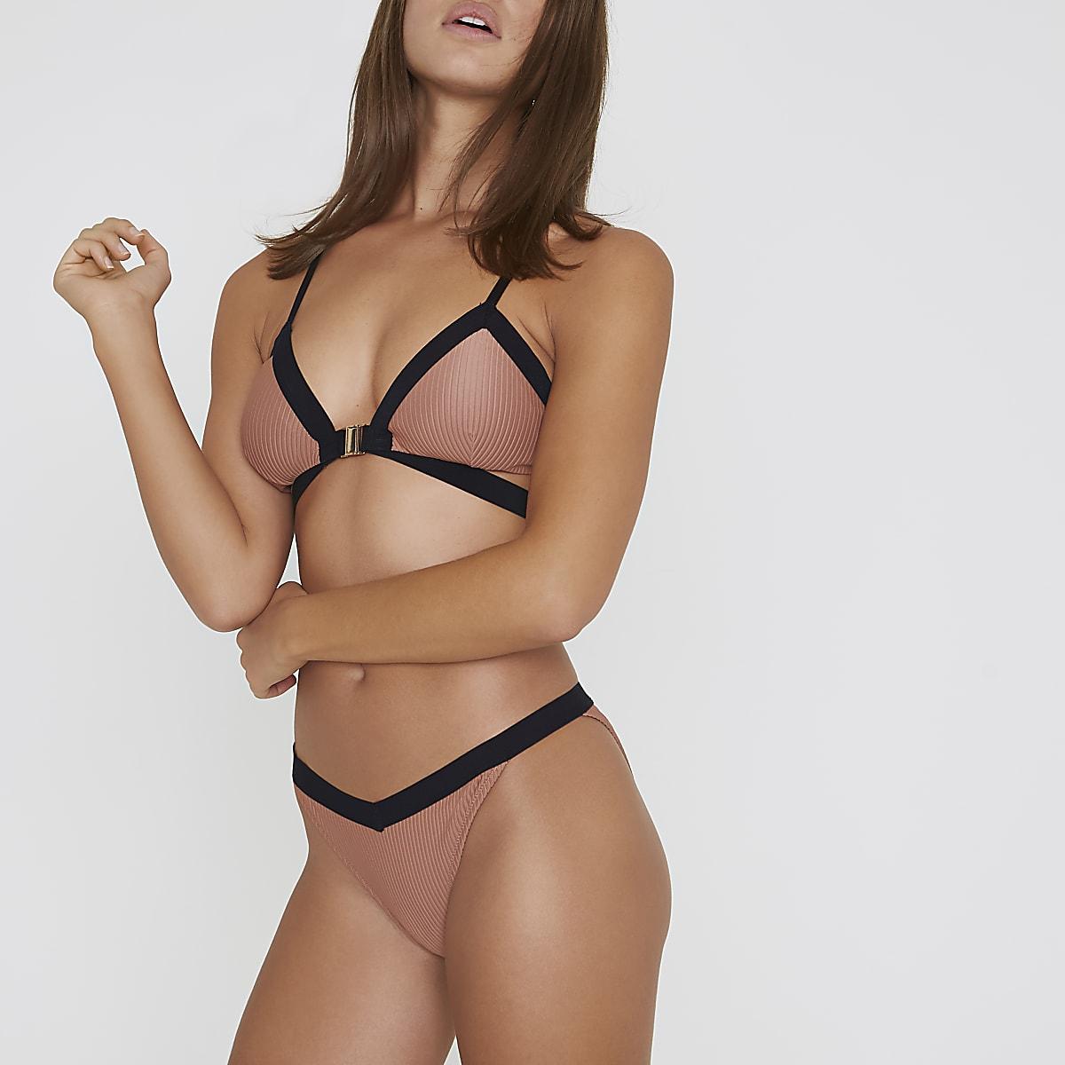 Light brown ribbed low rise bikini bottoms