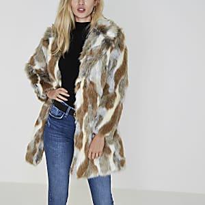 Manteau en fausse fourrure imprimé animal beige
