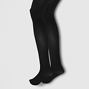 Black opaque tights 2 pack