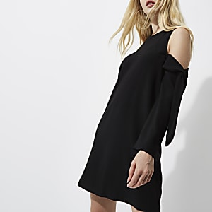 Black cold shoulder long sleeve swing dress