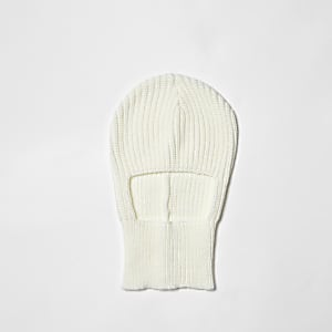 Cream rib knit balaclava