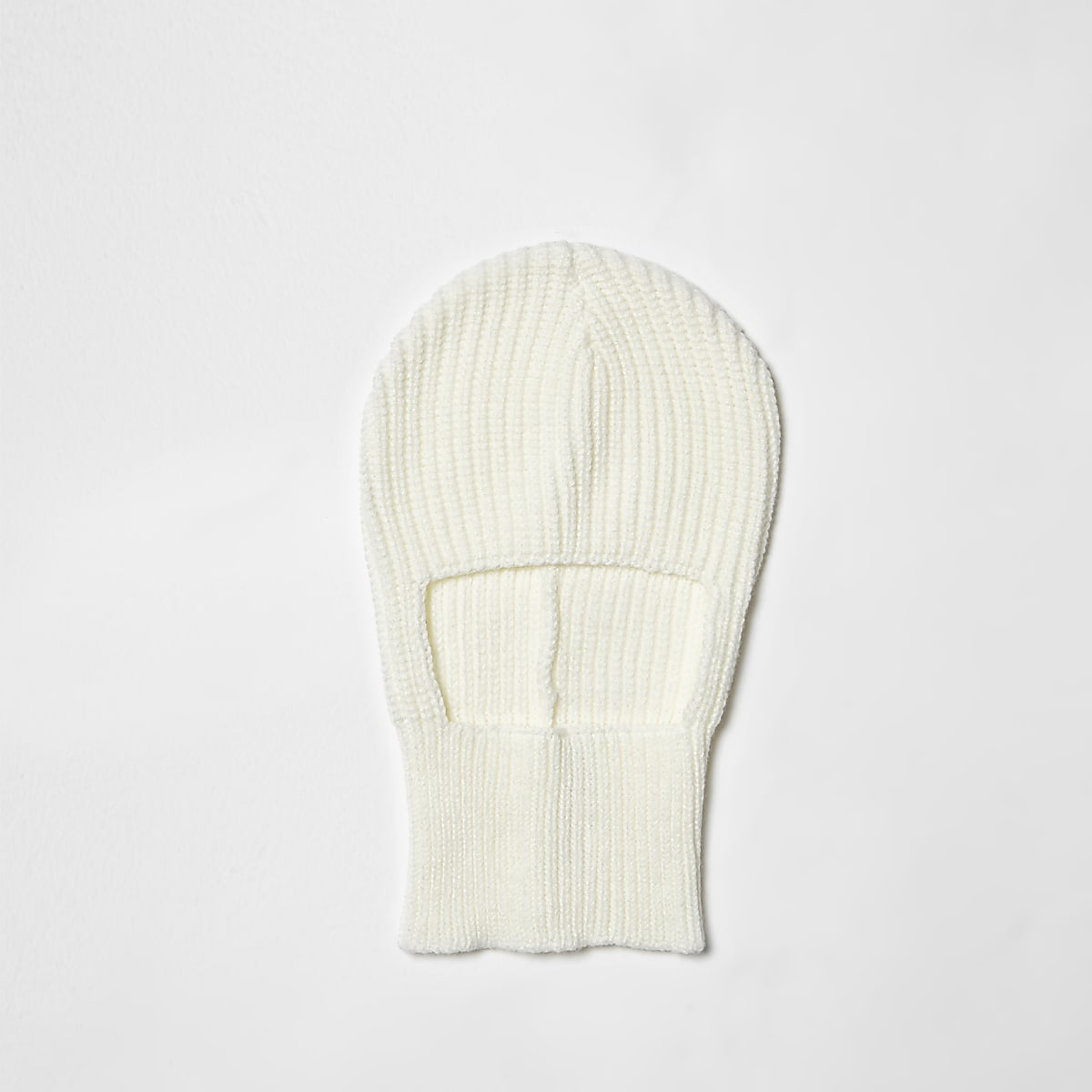 Cream rib knit balaclava
