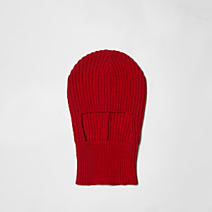 Red rib knit balaclava