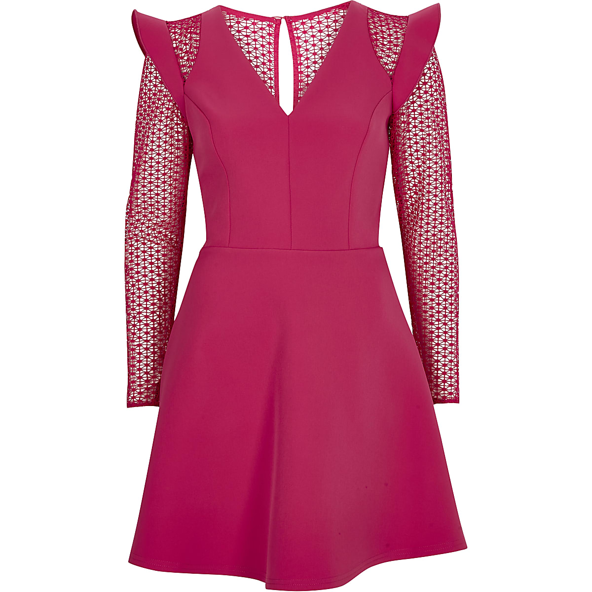 Bright pink lace insert frill skater dress