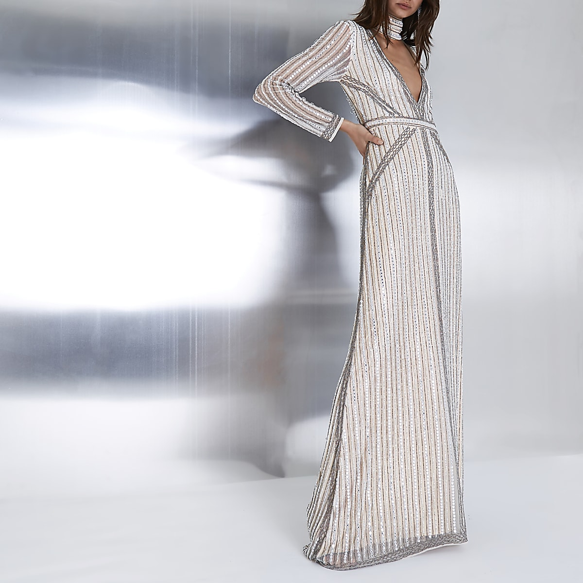 Beige embellished choker neck maxi dress
