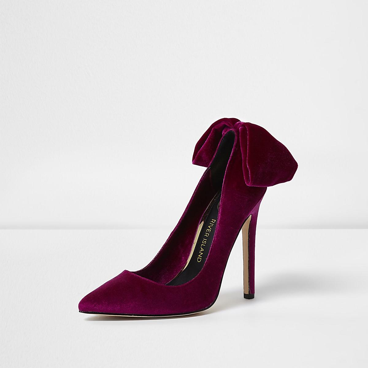 ea9c46faabc3 Purple velvet bow back court shoes - Shoes - Shoes   Boots - women