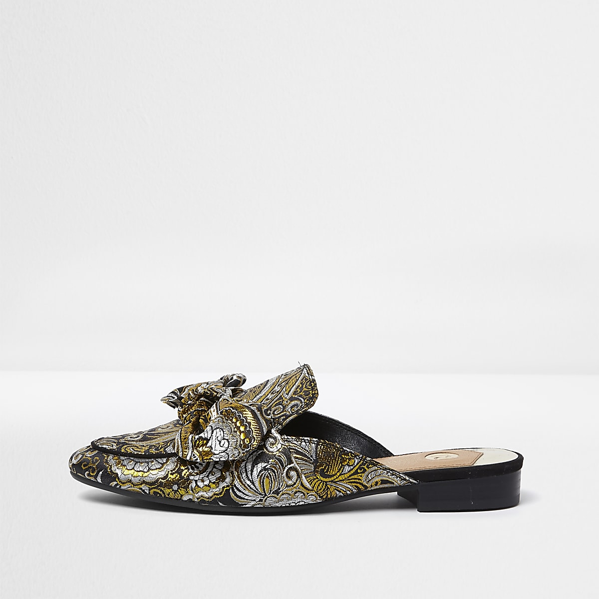 Black jacquard bow top backless loafers
