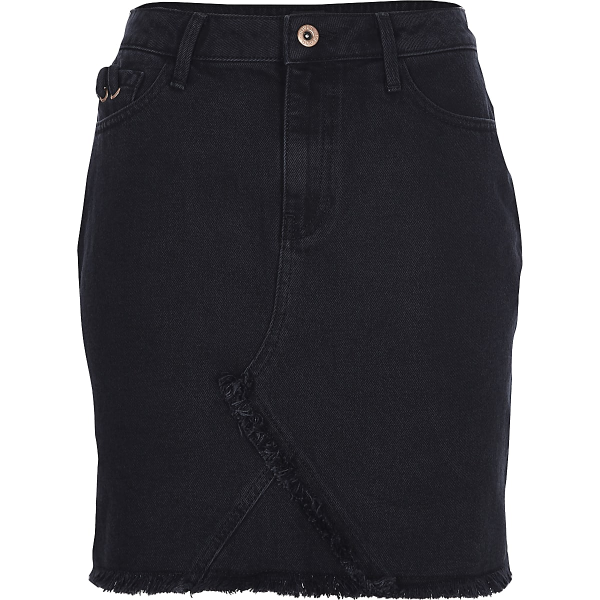 d207e7787 Black frayed hem denim skirt - Mini Skirts - Skirts - women