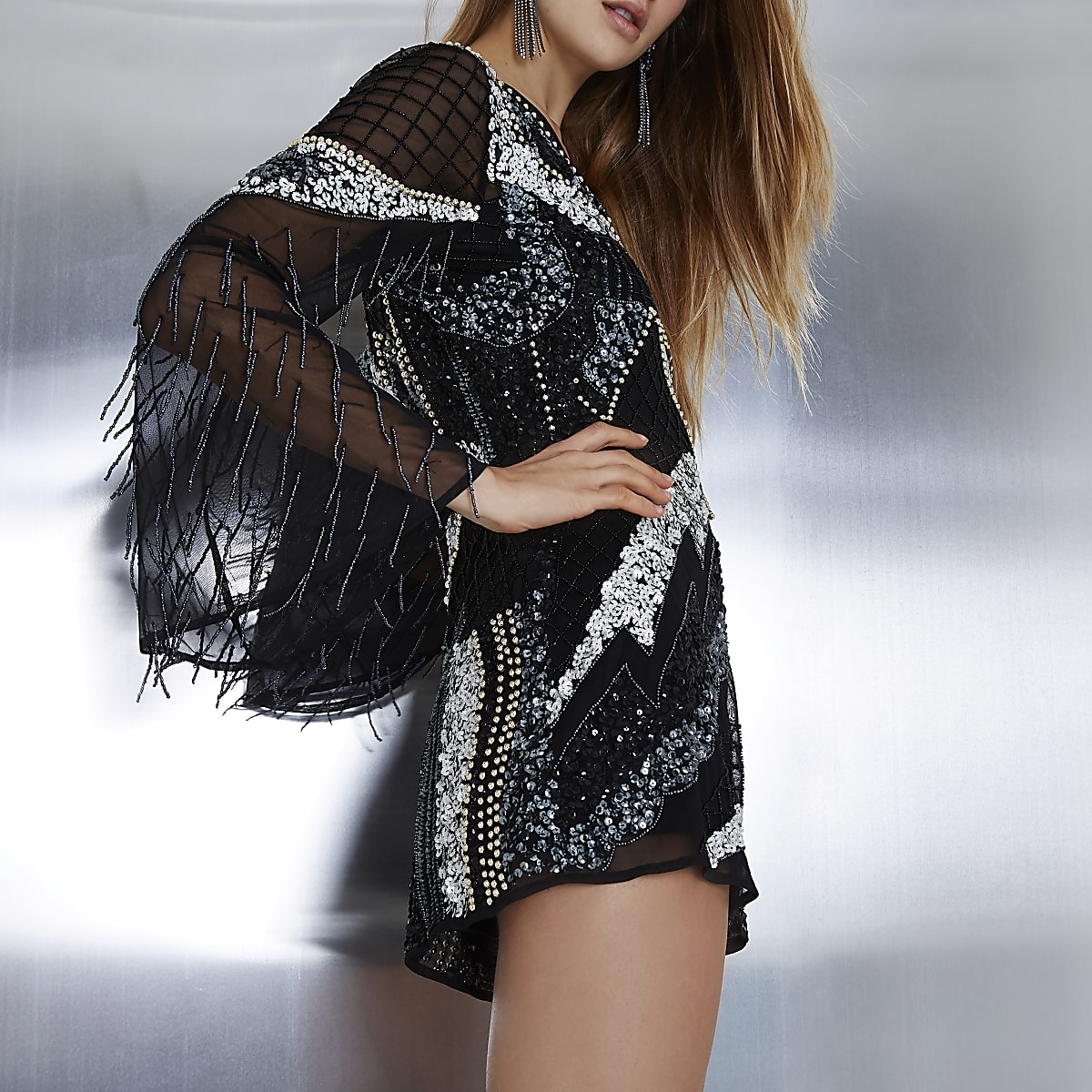 Black embellished mesh bell sleeve playsuit