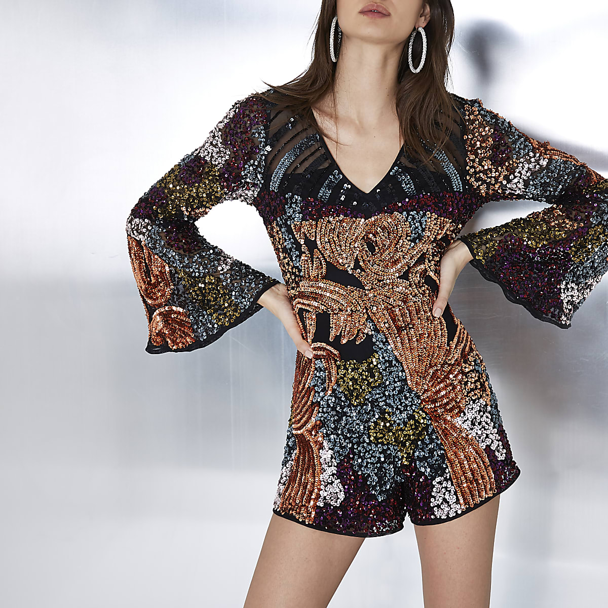 Black sequin embellished bell sleeve playsuit