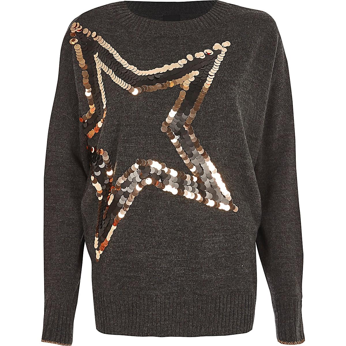 Dark grey metallic sequin star sweater