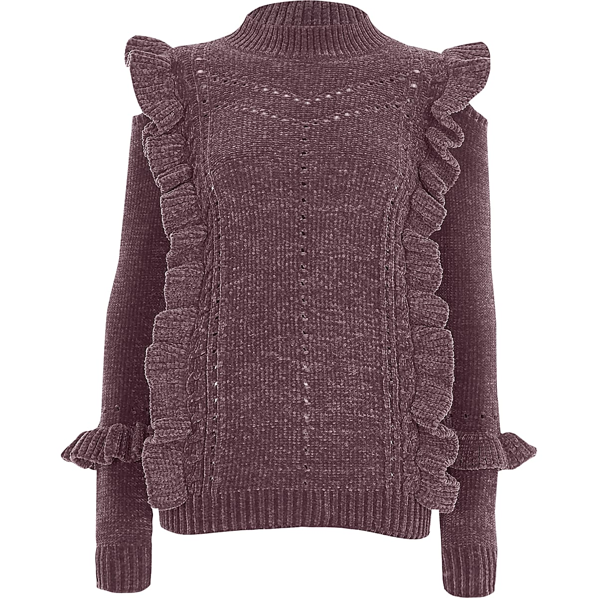 Purple chenille frill turtle neck jumper
