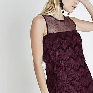 Petite burgundy fringe sleeveless swing dress