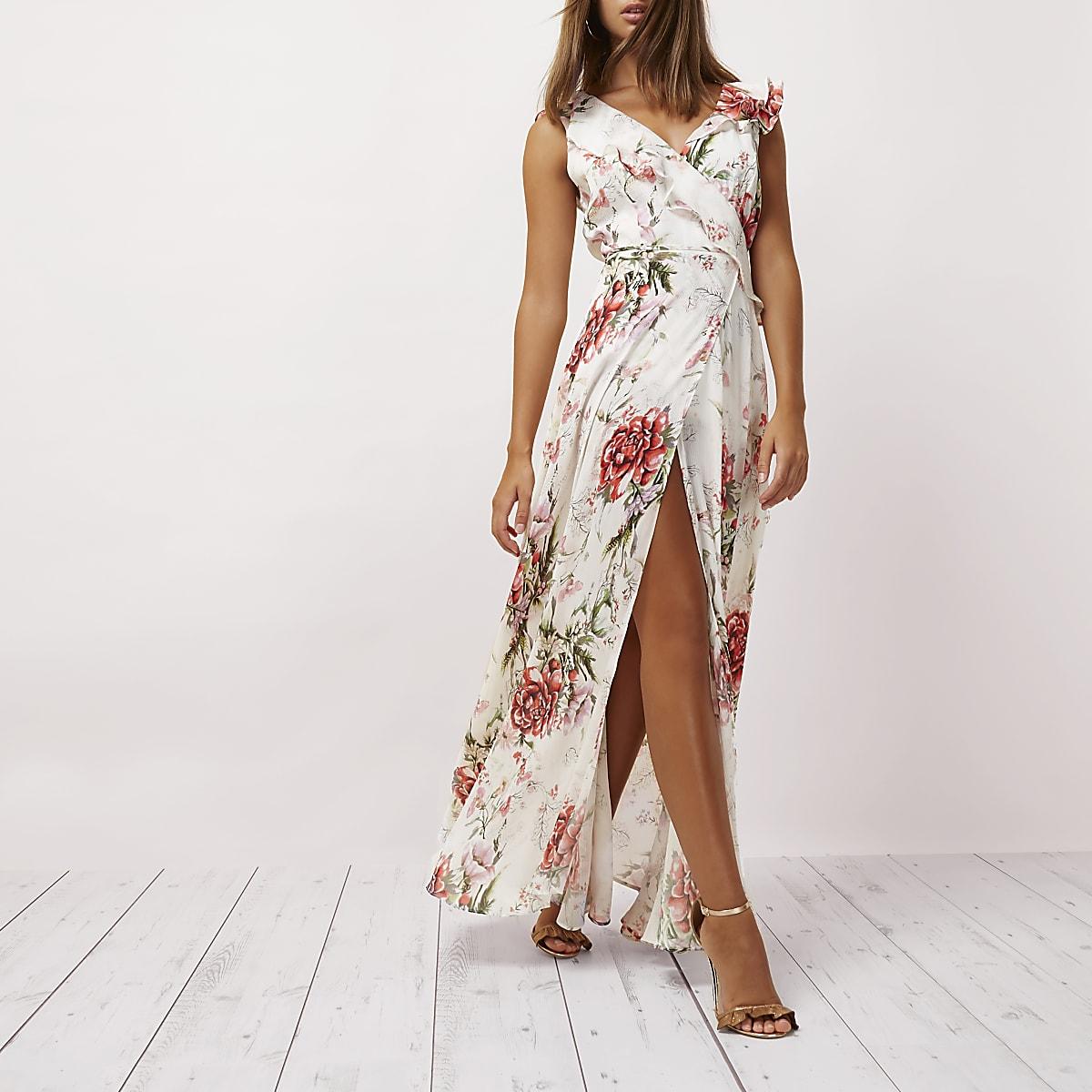 Cream floral print frill wrap maxi dress