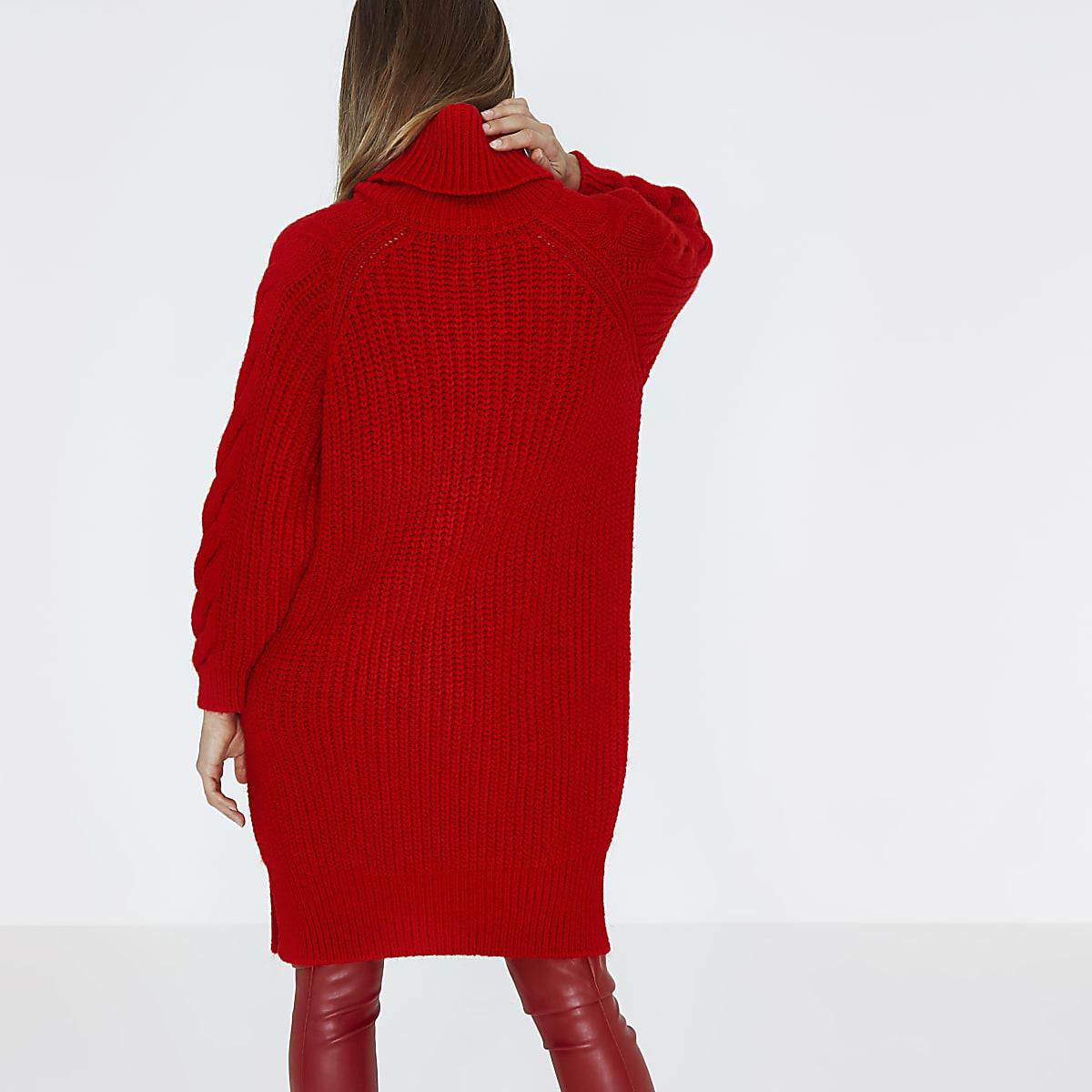 Rode Wollen Jurk.Rode Gebreide Midi Jurk Met Pullover Kabelmotief En Col