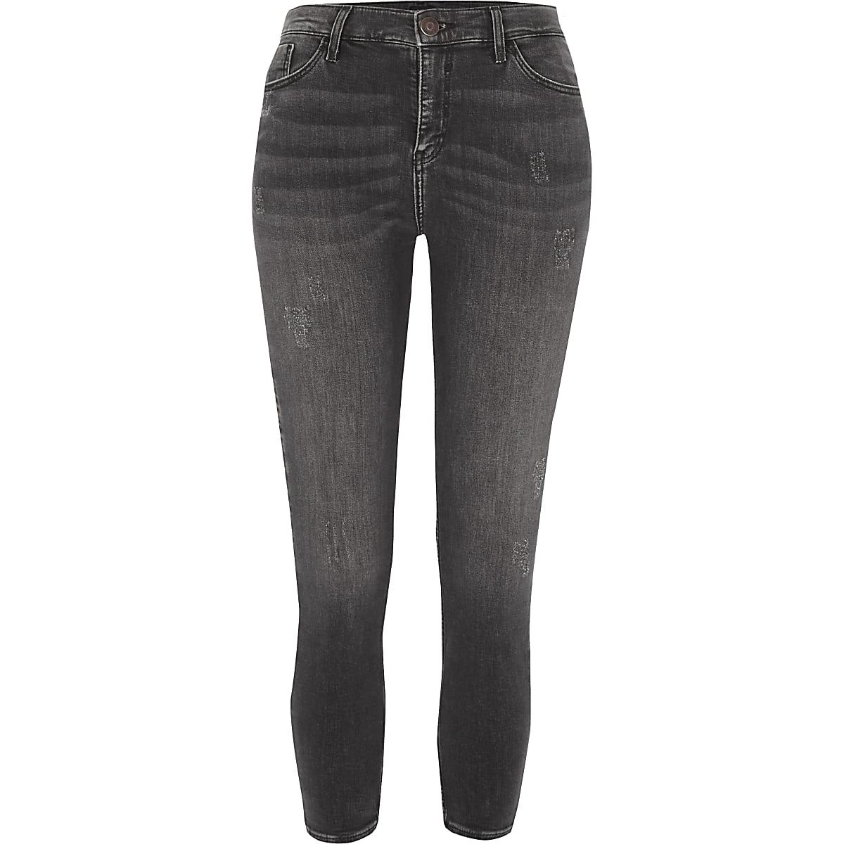 Petite grey Amelie distressed skinny jeans