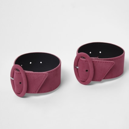 Pink circle buckle ankle straps