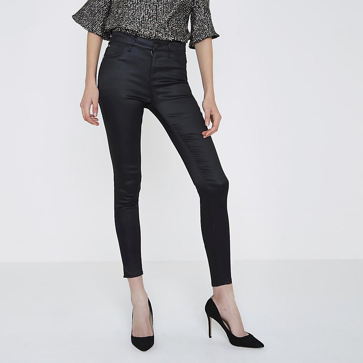 Amelie – Schwarze, beschichtete Superskinny Jeans