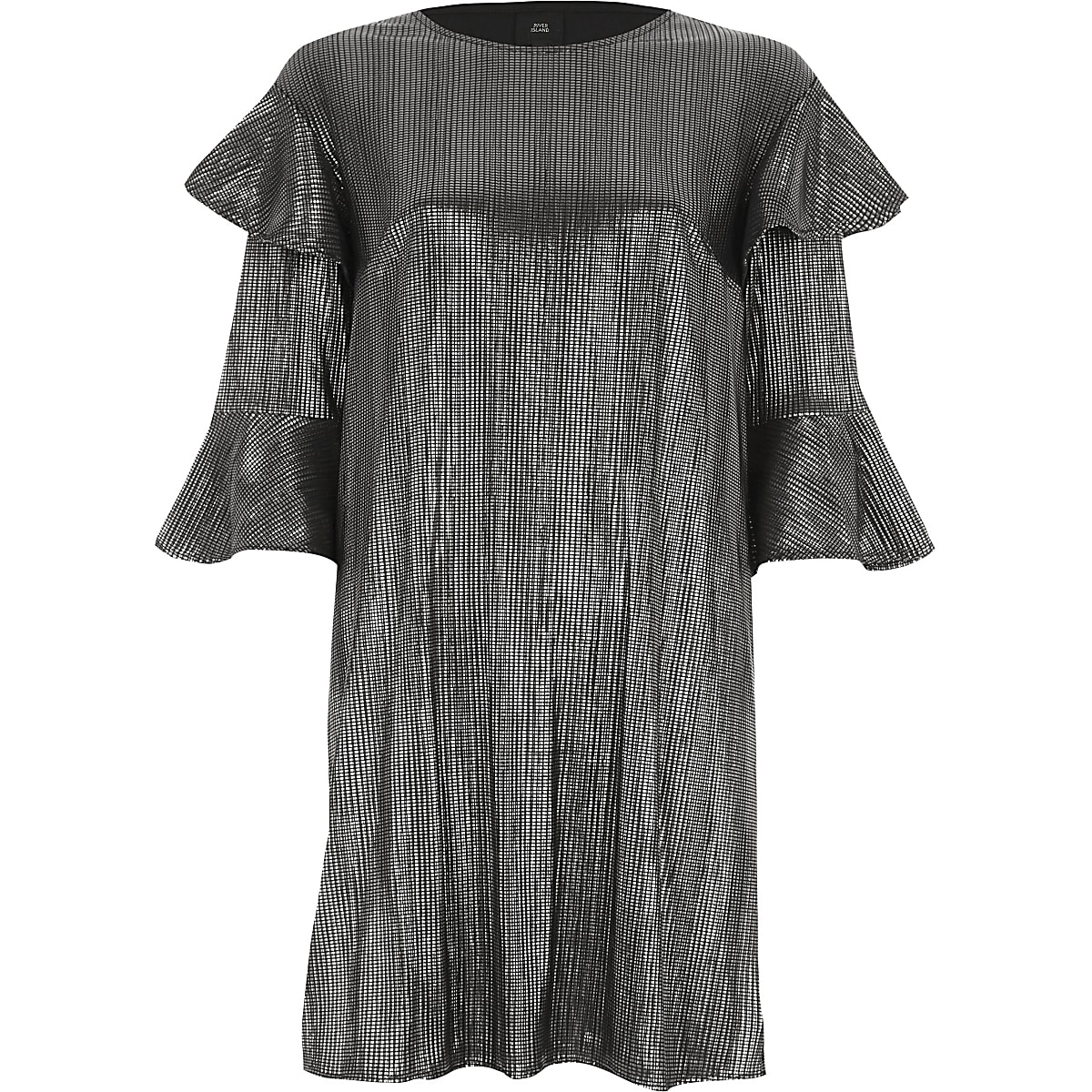 Silver foil frill T-shirt dress