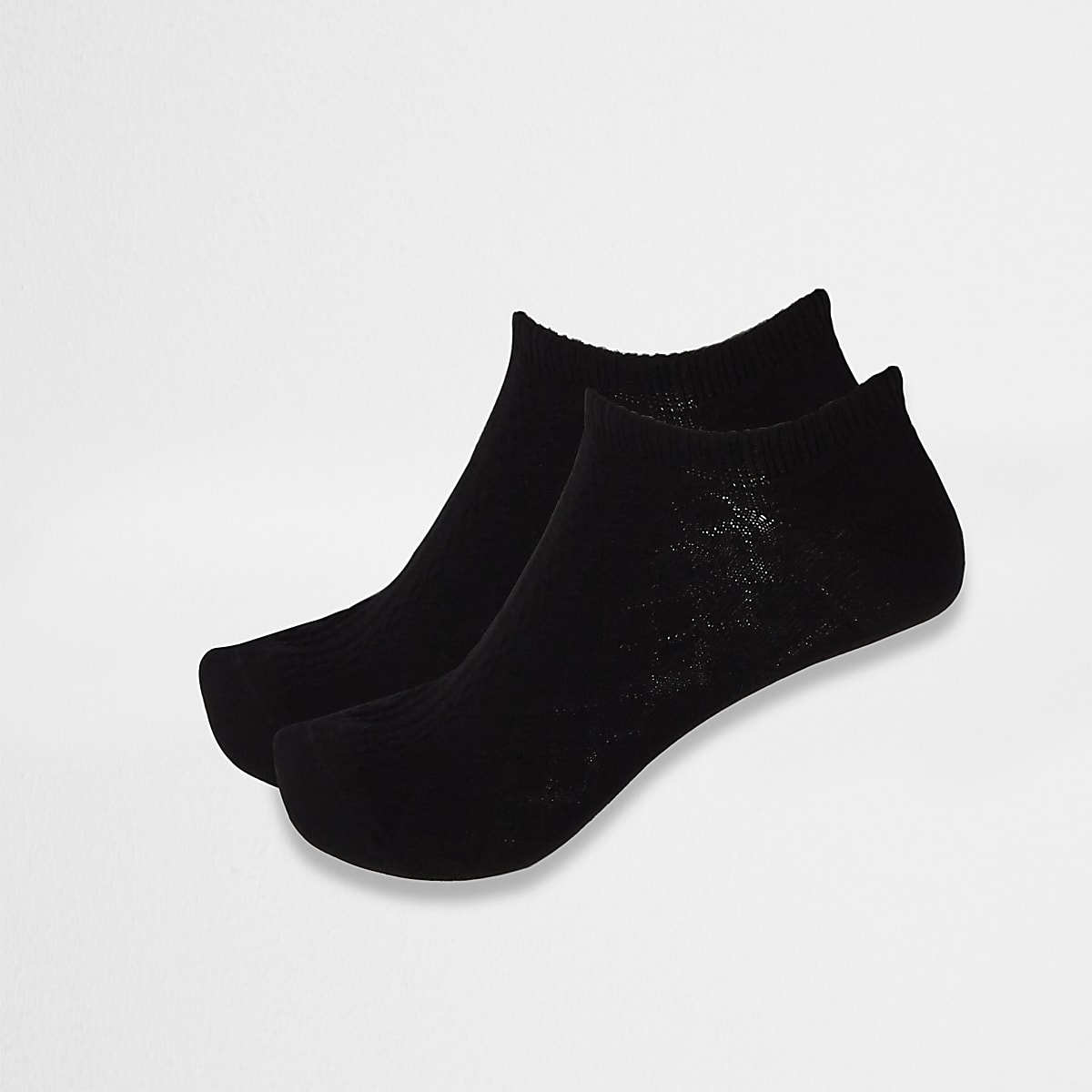Black cable knit ankle socks 2 pack