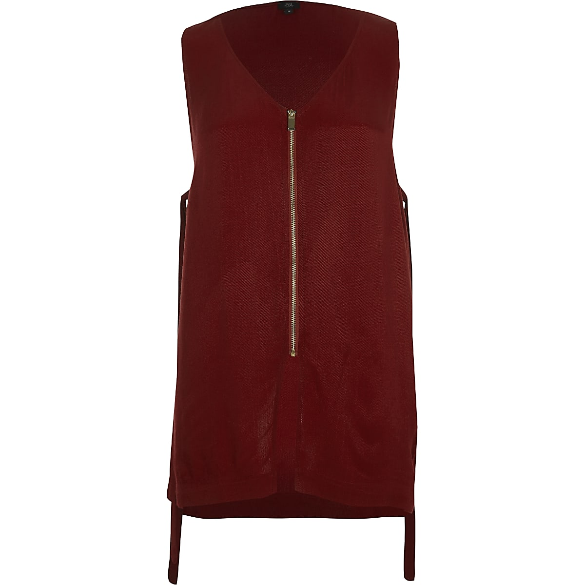 Dark red zip front sleeveless top