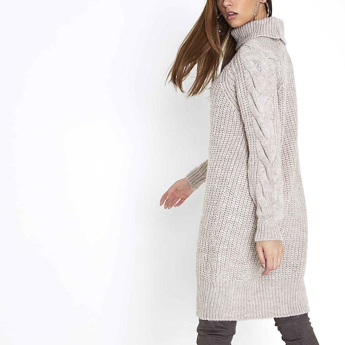 9e38dc6abac071 Beige gebreide trui-jurk met kabels en col - RI Limited Edition - Dames