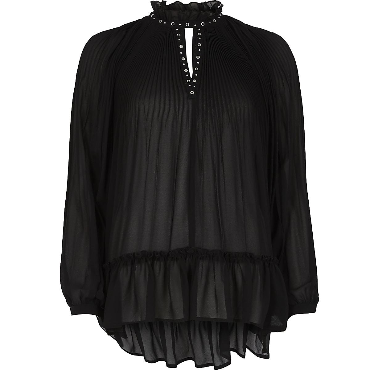 Black pleated eyelet high neck sheer blouse