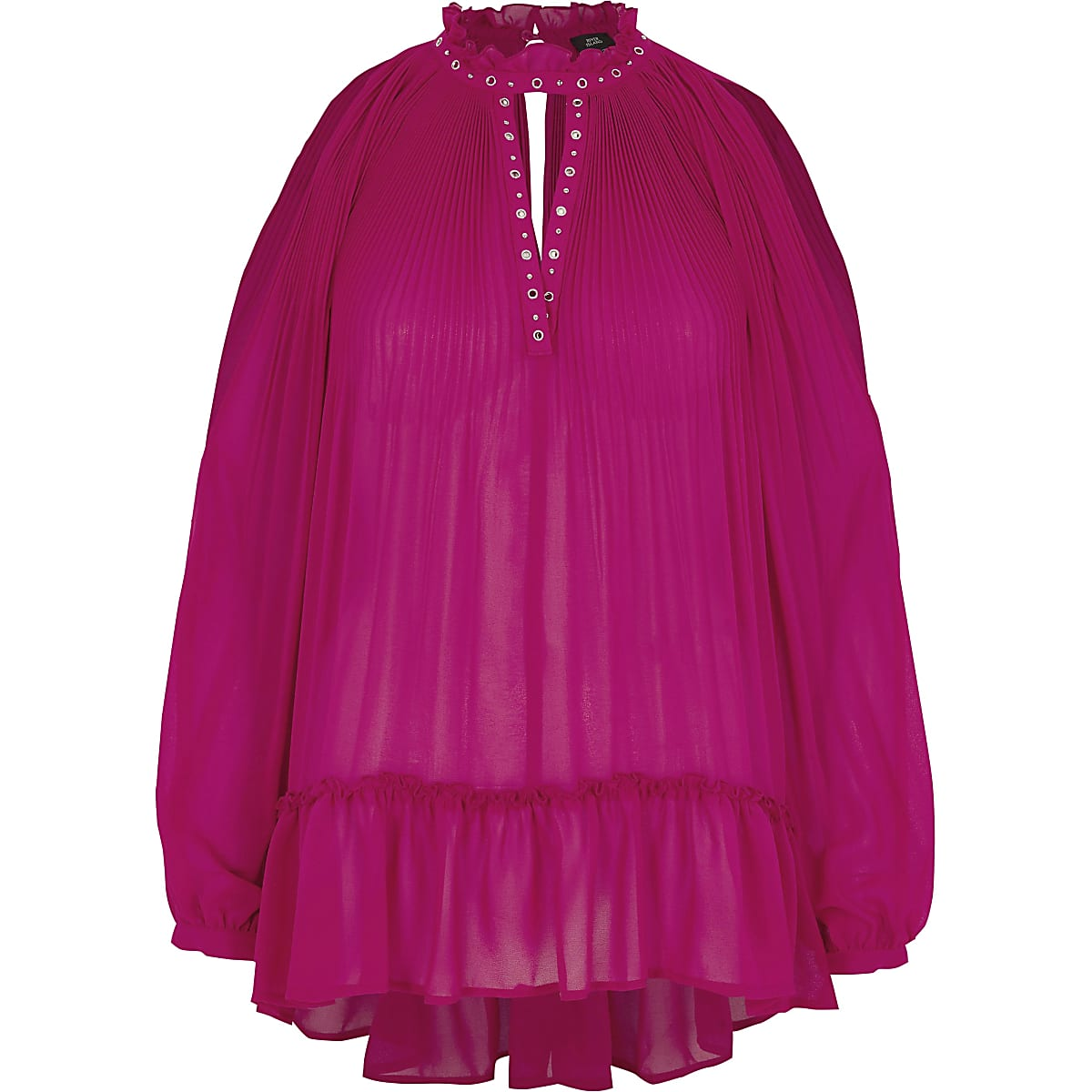 Pink pleated eyelet trim frill hem blouse