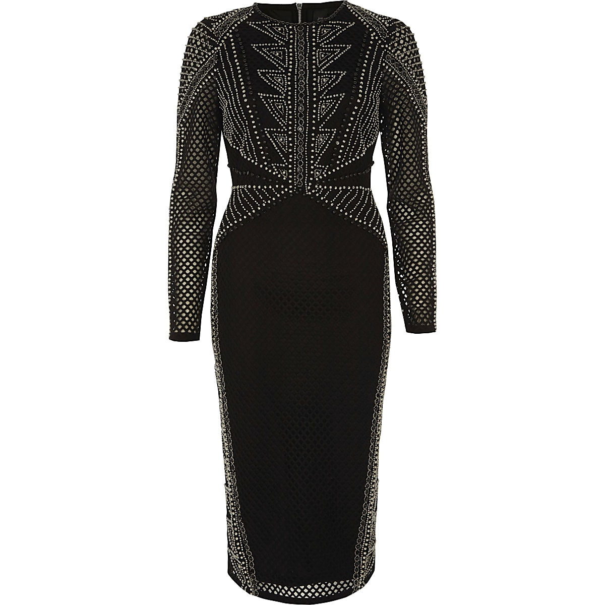 Black embellished mesh bodycon midi dress