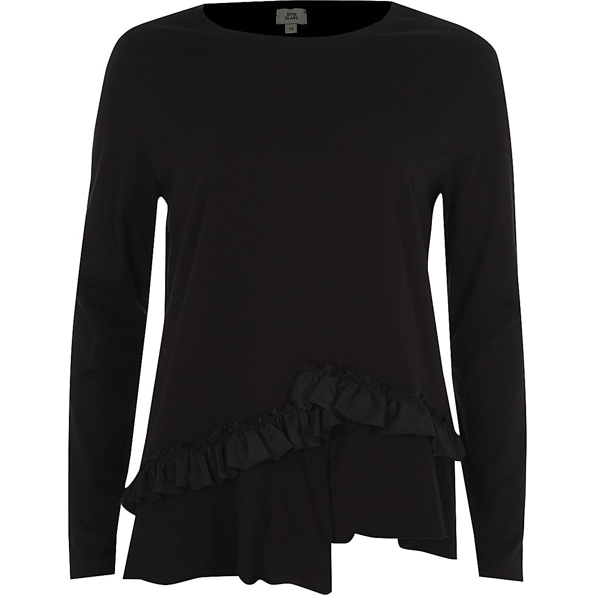 Black asymmetric frill long sleeve T-shirt