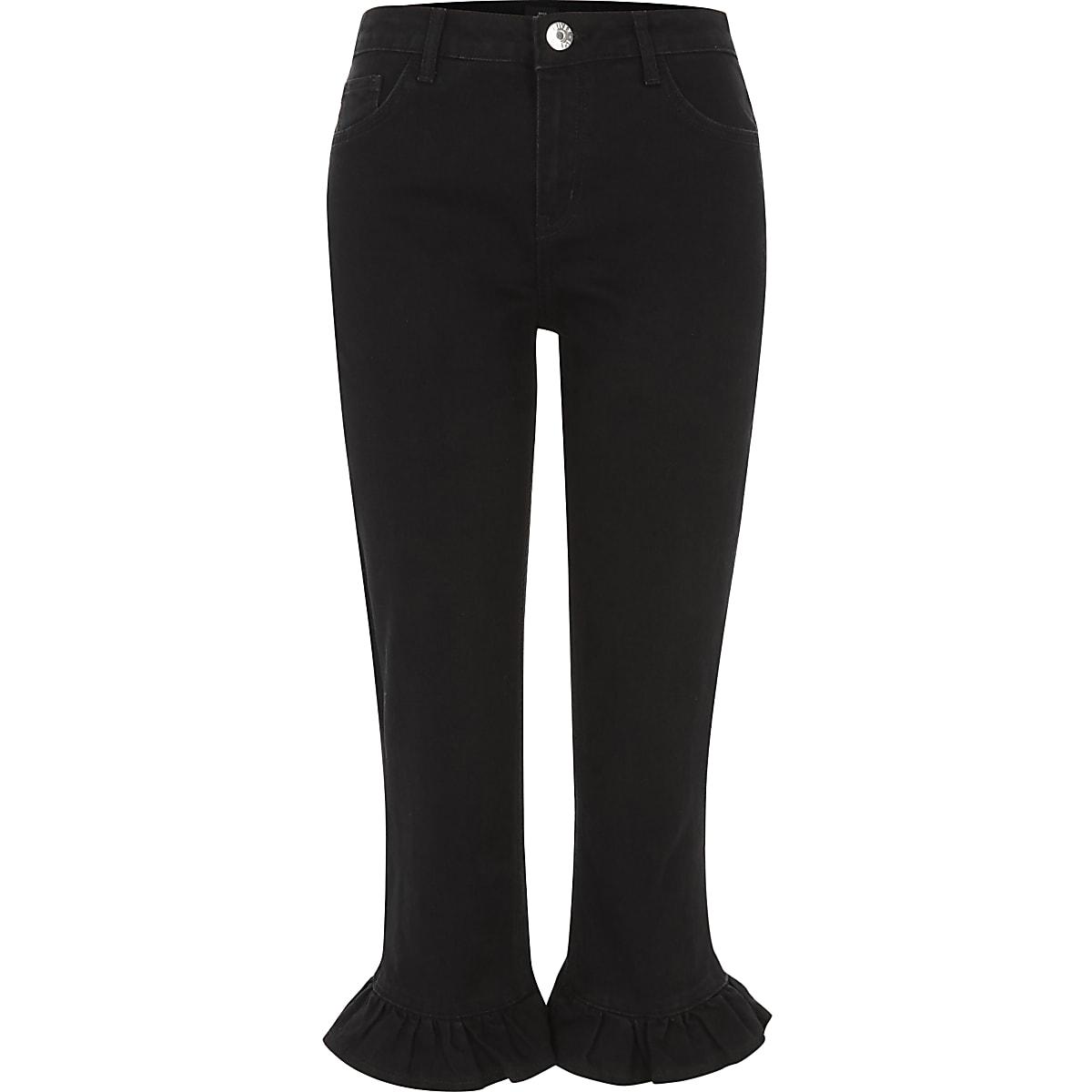 Black frill hem cropped jeans
