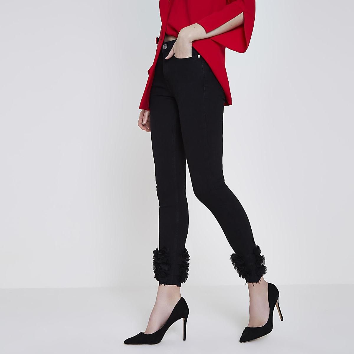 a24650f7307 Black 3d flower hem Amelie super skinny jeans