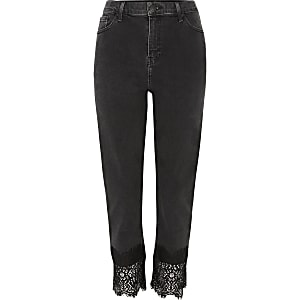 Black Bella lace hem straight leg jeans