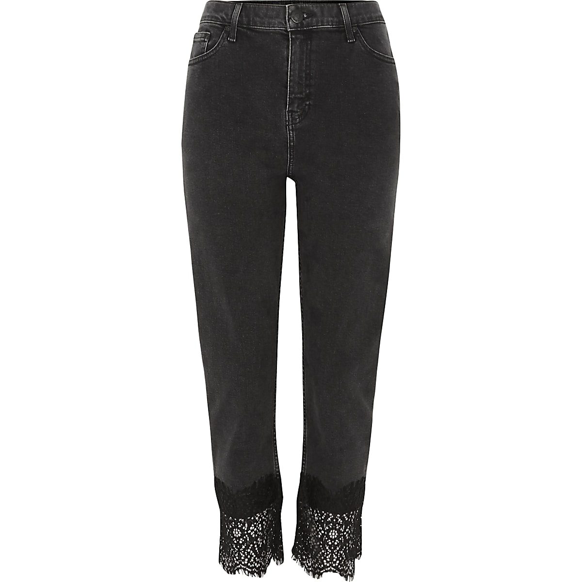 Black Bella lace hem straight leg jeans