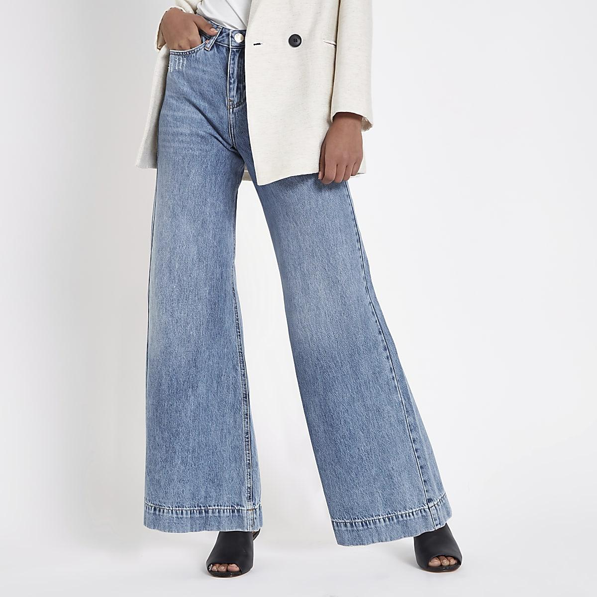 1a773bbbe6 Mid blue wash Mila wide leg jeans - Bootcut & Flared Jeans - Jeans - women