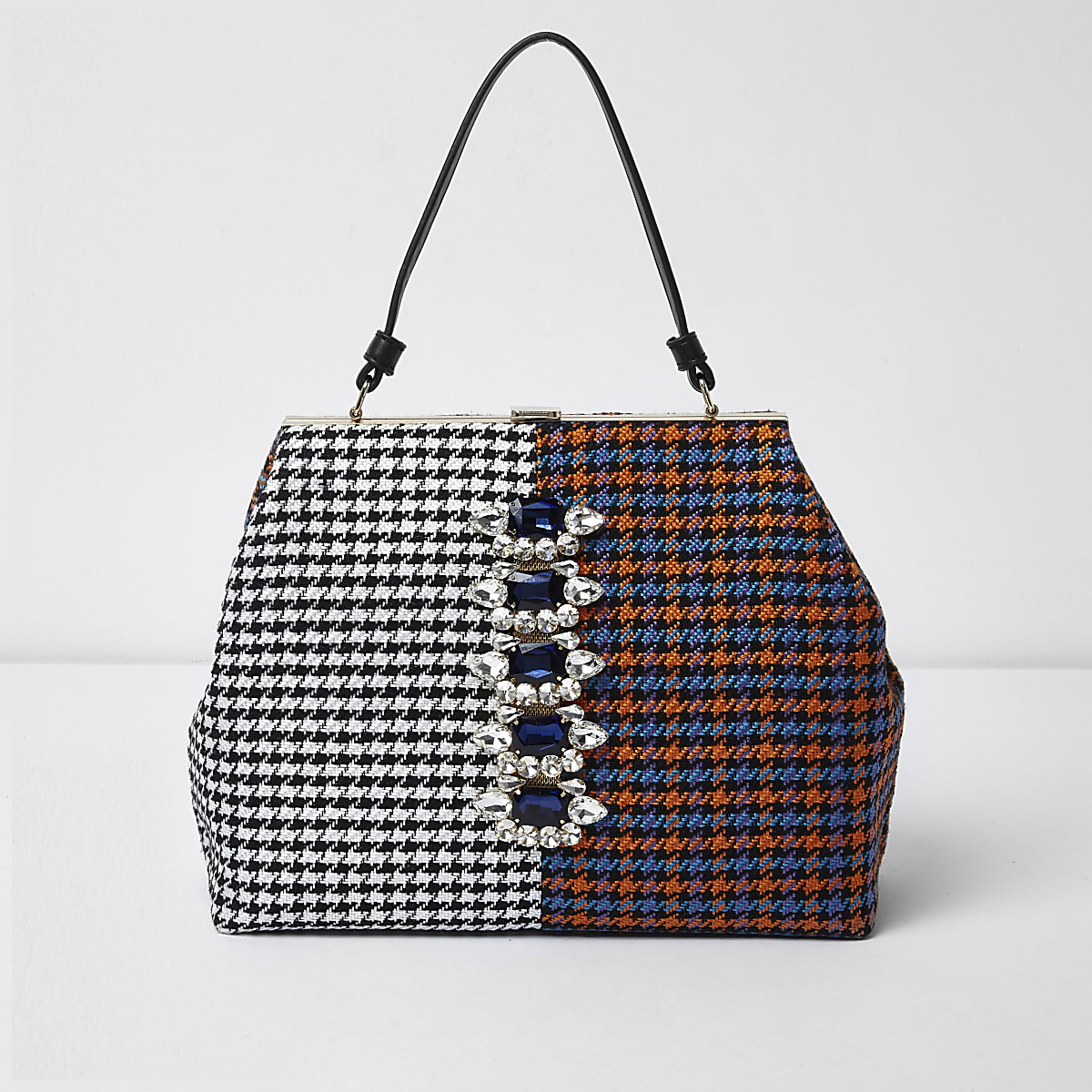 Orange check panel gem embellished tote bag