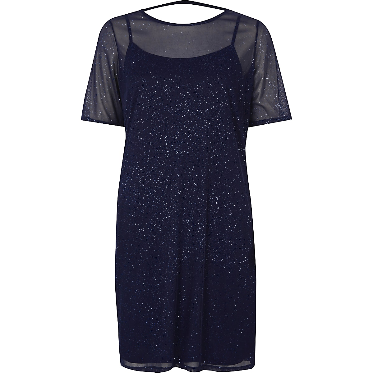 Dark blue glitter mesh T-shirt dress