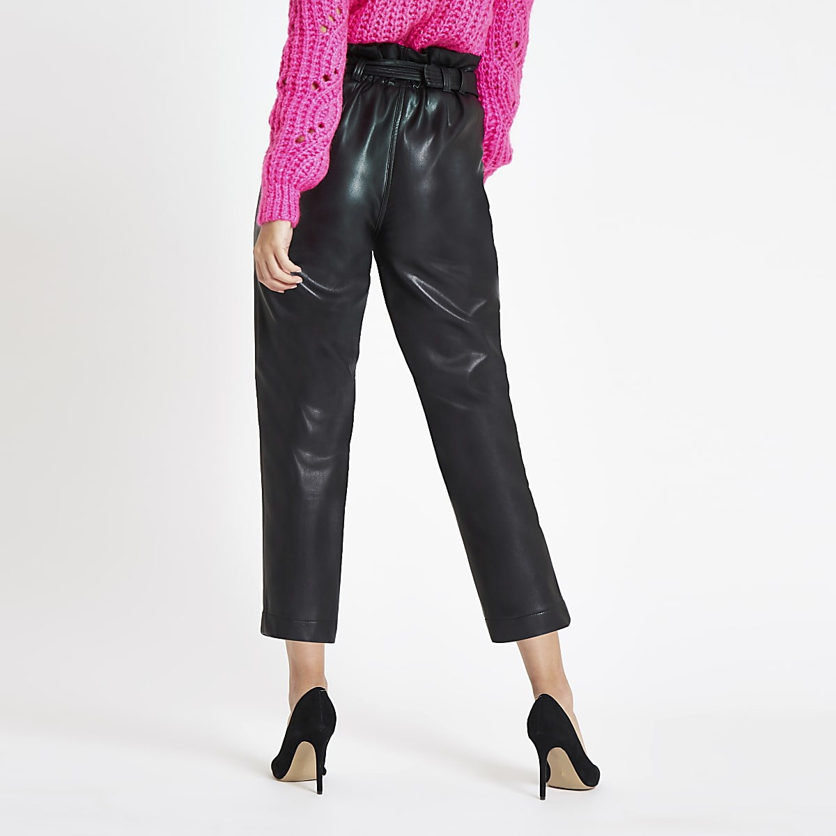 5047a630b98 Black faux leather paperbag waist trousers - Tapered Trousers ...