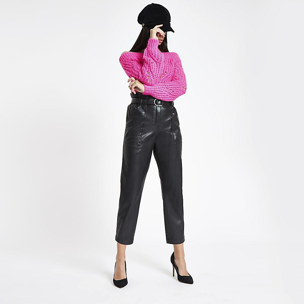Zwarte broek van imitatieleer met geplooide taille